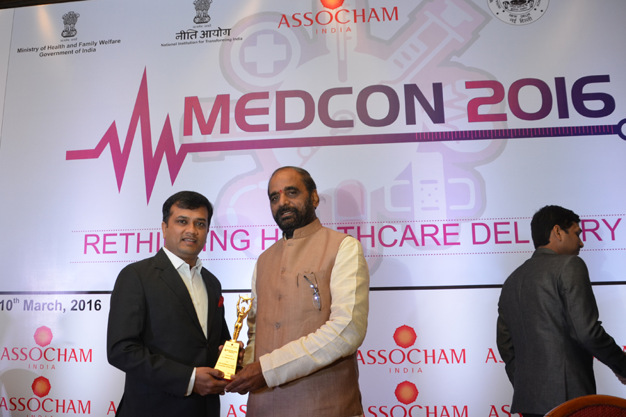 Y.J. TRIVEDI & Co. IS AWARDED AS THE IPR FIRM OF THE YEAR (PHARMA INDUSTRY) by SHRI HANSRAJ AHIR, HON'BLE MINISTER OF STATE FOR HOME AFFAIRS (GOVT. OF INDIA) AT ASSOCHAM INDIA MEDCON 2016